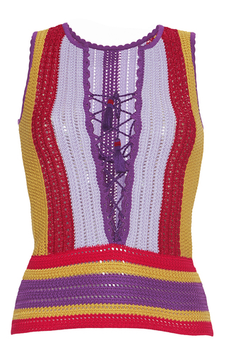Medium roberto cavalli multi lace up knit top
