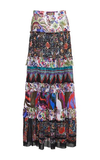 Medium roberto cavalli floral enchanted garden tiered long skirt