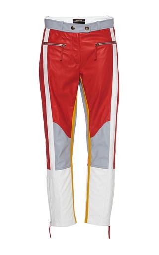 Medium roberto cavalli red colorblocked leather pants