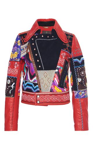 Medium roberto cavalli red patchwork leather biker jacket