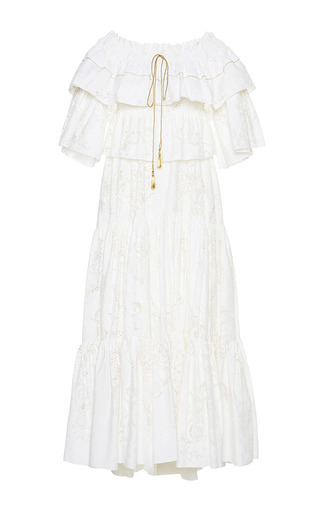 Medium roberto cavalli white off the shoulder a line dress