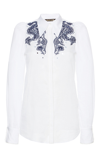 Medium roberto cavalli white cotton voile embroidered shirt