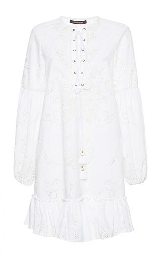 Medium roberto cavalli white lace up puff sleeve dress
