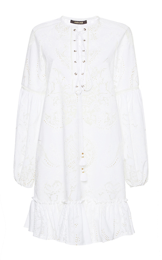 Medium roberto cavalli white lace up puff sleeve dress