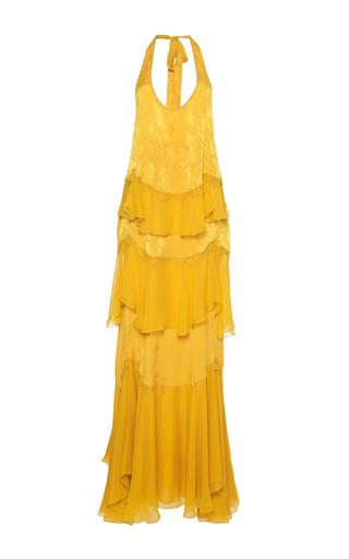 Medium roberto cavalli gold tiered chiffon long dress