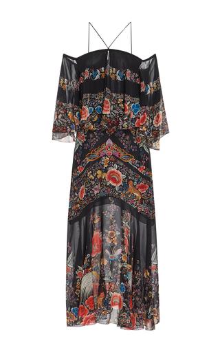 Medium roberto cavalli floral enchanted garden off the shoulder dress