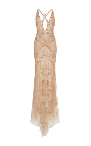 Medium roberto cavalli nude embellished tulle sheath gown