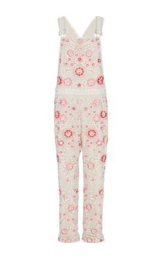Medium needle thread floral cherry blossom embroidered jumpsuit