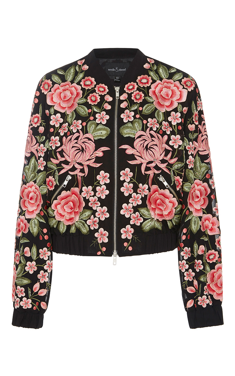 Floral embroidered rose bomber jacket by needle moda
