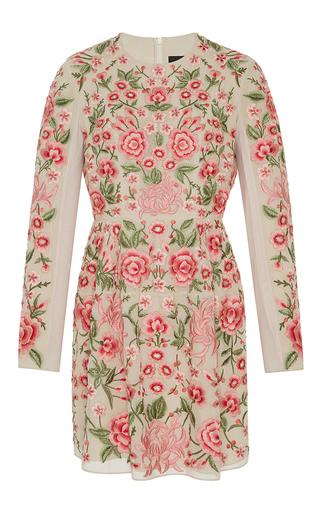 Medium needle thread floral rose beige embroidered mini dress
