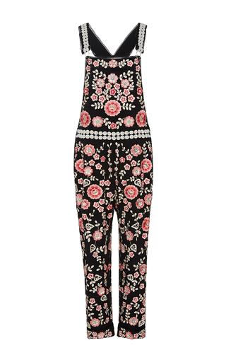 Medium needle thread floral black cherry blossom embroidered jumpsuit