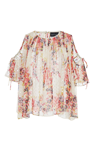 Medium needle thread floral prairie rose open shoulder blouse