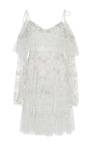 Medium needle thread white white supernova ruffled open shoulder dress