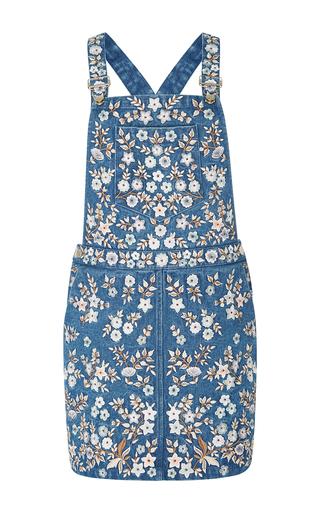 Medium needle thread blue denim embroidery overall dress