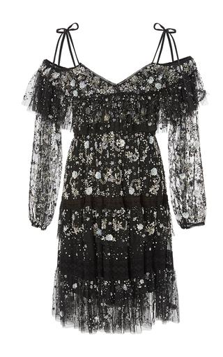 Medium needle thread black supernova ruffled open shoulder dress