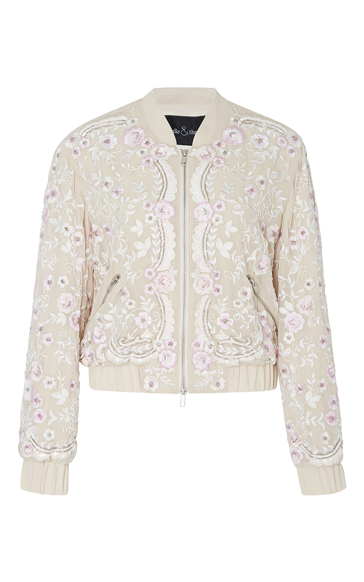 908d8d63b Rose Beige Prairie Embroidery Bomber Jacket