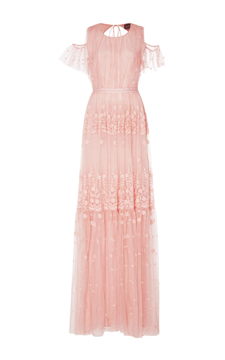 Medium needle thread pink daisy embroidery open shoulder gown