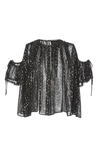 Medium needle thread black lurex chiffon sheer blouse