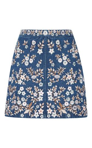 Medium needle thread blue denim embroidery high waist skirt