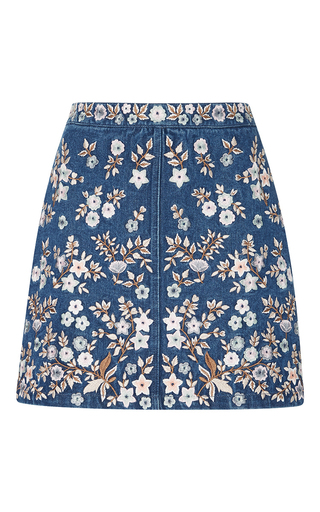 Medium needle thread blue denim embroidery high waist skirt