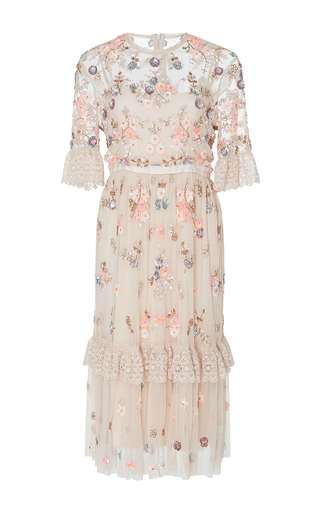 Medium needle thread light pink ditsy scatter embellished ruffle dress
