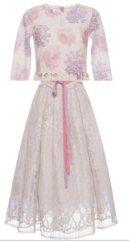 Medium luisa beccaria purple 3 4 sleeves dress in printed eyelet with lace midi skirt custom