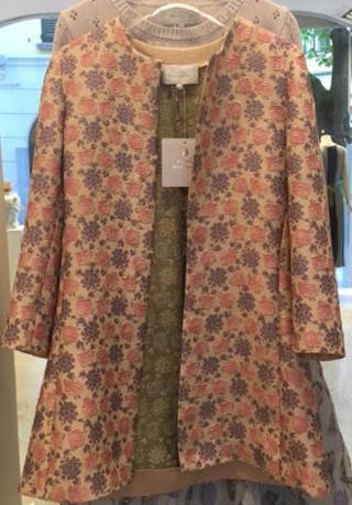 Medium luisa beccaria nude jacquard flowers coat special add