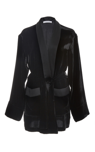 Medium sleeper black short velvet robe