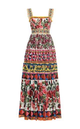 Medium dolce gabbana print pleated maxi dress