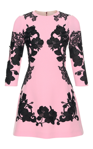 Medium dolce gabbana pink floral lace mini dress