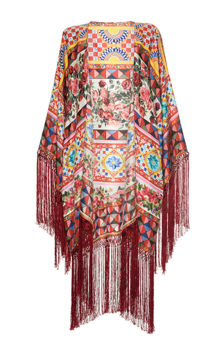 Medium dolce gabbana print printed fringe cape