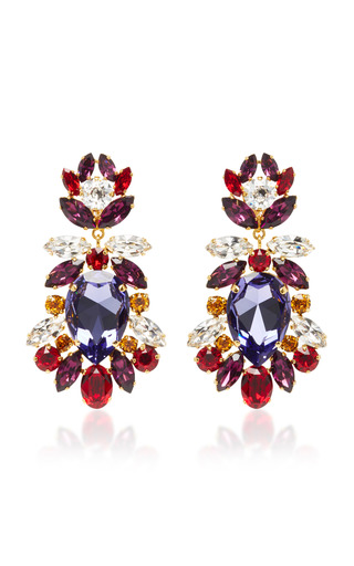 Medium dolce gabbana multi crystal clip earrings