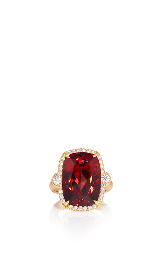 Medium pamela huizenga red malai garnet and diamond ring