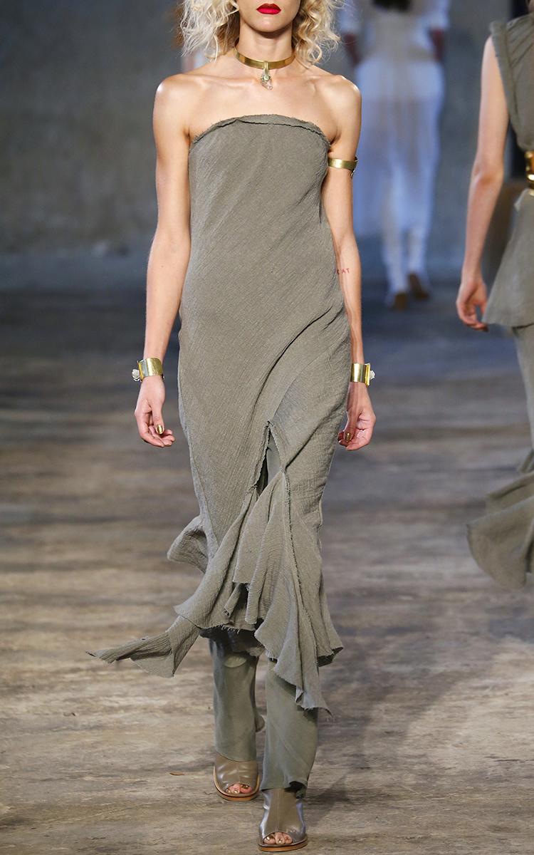 Crush Linen Strapless Midi Dress