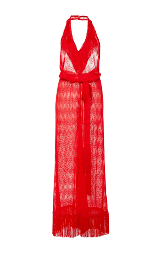 Medium missoni mare red fringe halter jumpsuit
