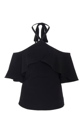 Medium sachin babi black ruby cold shoulder ruffle top