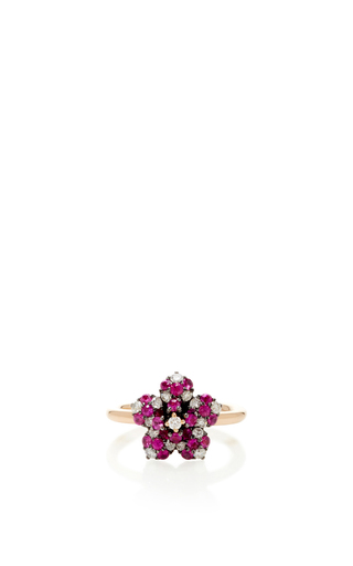Medium aida bergsen rose gold 14k rose gold flora pink flower ring