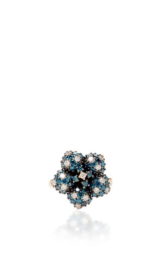 14 K Rose Gold Flora Blue Flower Ring by AIDA BERGSEN Now Available on Moda Operandi
