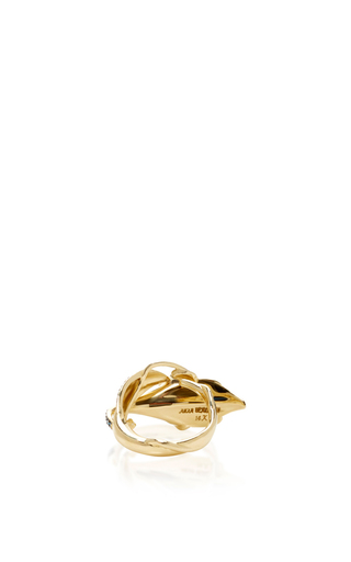 14 K Yellow Gold Flora Leaf Ring by AIDA BERGSEN Now Available on Moda Operandi