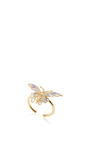14 K Yellow Gold Blue Butterfly Fauna Ring by AIDA BERGSEN Now Available on Moda Operandi