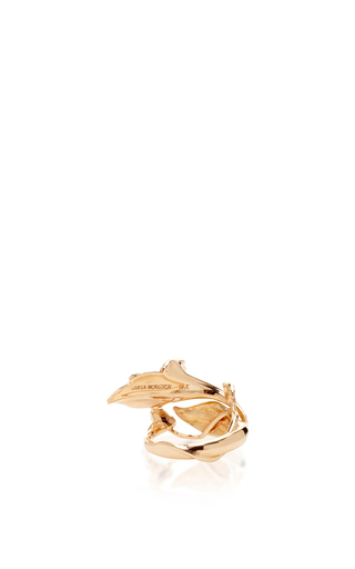 14 K Rose Gold Flora Leaf Ring by AIDA BERGSEN Now Available on Moda Operandi