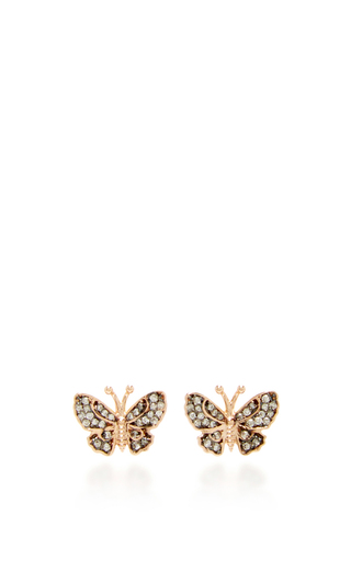 14 K Rose Gold Butterfly Fauna Studs by AIDA BERGSEN Now Available on Moda Operandi