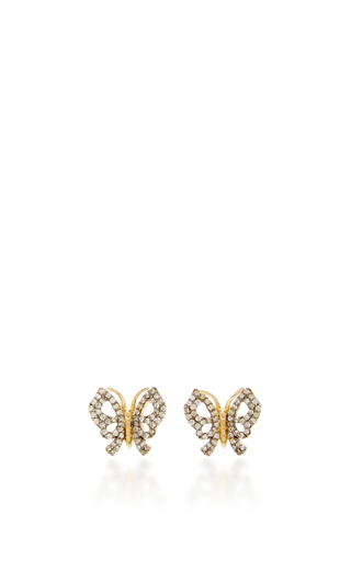 14 K Yellow Gold Butterfly Fauna Earrings by AIDA BERGSEN Now Available on Moda Operandi
