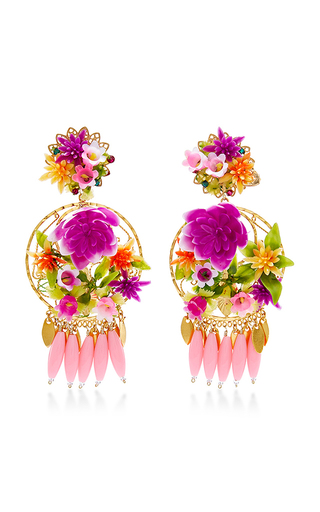 Medium mercedes salazar pink fiesta flower earrings