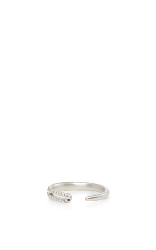 14 K White Gold Eyelet Ring by JADE TRAU Now Available on Moda Operandi
