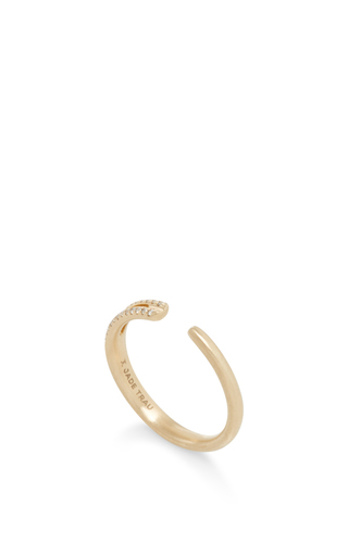 14 K Yellow Gold Eyelet Ring by JADE TRAU Now Available on Moda Operandi