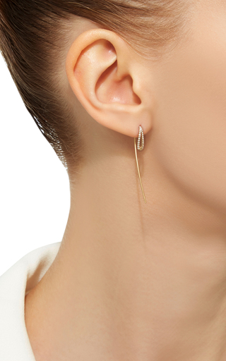14 K Yellow Gold Eyelet Hoop Earrings by JADE TRAU Now Available on Moda Operandi