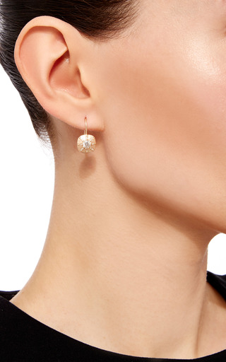 14 K Yellow Gold Touchstone Drop Earrings by JADE TRAU Now Available on Moda Operandi