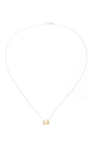 14 K Yellow And White Gold Touchstone Pendant by JADE TRAU Now Available on Moda Operandi