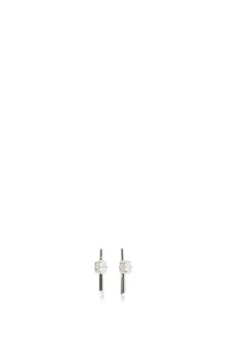 14 K White Gold Rae Studs by JADE TRAU Now Available on Moda Operandi